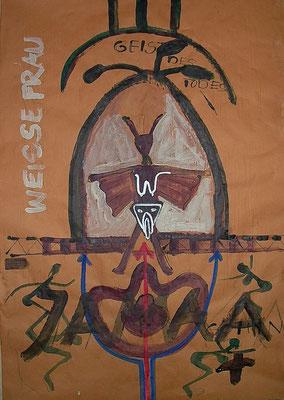 BAPHOMET-WEISSE FRAU MIT JAMAA, 2021, Acryl, Tusche, Marker, Kreide auf farbigem Einpackpapier, 70x100cm