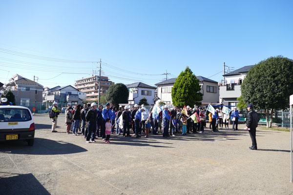 ブロックごと集合して体育広場へ避難訓練
