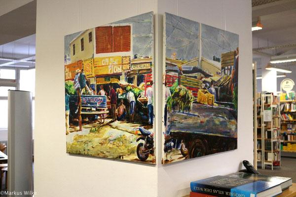 """Mercado """"Ouatro Caminos"""", 2010, Acryl auf Leinwand, 80 x 160 cm, 2tlg"""