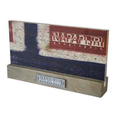 NAPAPIJRI targa in legno stampa diretta. Targhetta in fusione di alluminio