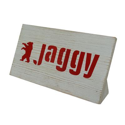 JAGGY targhetta in legno sbiancato