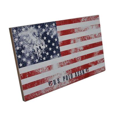 US POLO ASSN targhetta in legno con stampa accoppiata