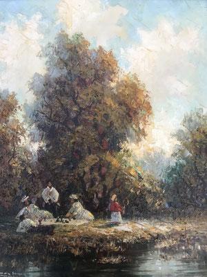 """Vintage impressionistisches Ölbild """"Picknick im Park"""" von Ludwig Sohler, München"""
