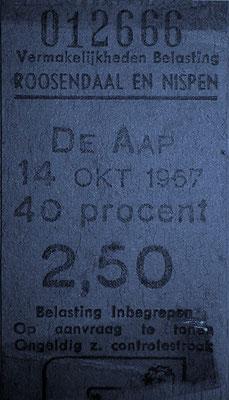 Toegangskaartje van 14 oktober 1967 voor het optreden van Peter & The Blizzards uit Den Haag.
