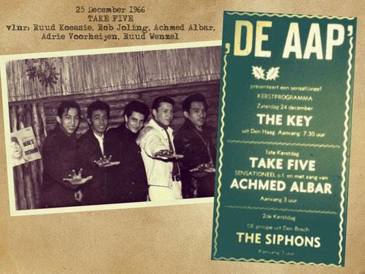 """Kerstprogramma """"De Aap""""  met op 1e Kerstdag 1966 de Roosendaalse Indo band Take Five met hun zanger Achmed Albar."""