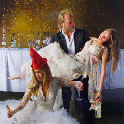 SOLD. Tos Kostermans, After Party 1 AM, Mixed Media on canvas,  115 x 115 cm