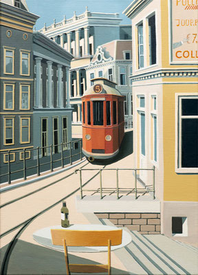 Joop Polder, The red Tram, 50x70 cm. Price on request.