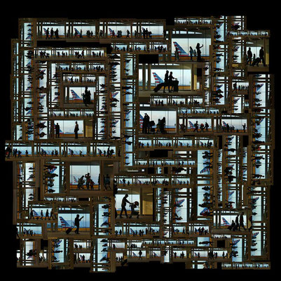 Wing Chan, Urban-Tapestry 021, Departure, Arrival Narita Airport, Japan Image size: 100 x 100 cm (can be adjusted to smaller sizes) 2017 Edition of 8 Photomontage Archival pigment print