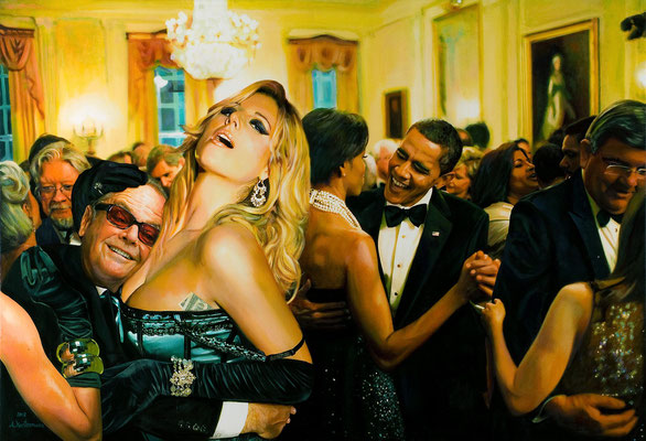 Tos Kostermans, Party in the White House, Mixed Media on canvas, 140 x 100 cm