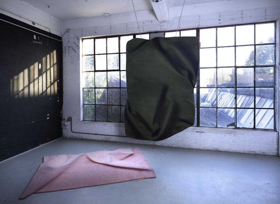 Celia Hadeler Rugs Emerald Green & Old Pink (floor) 230 x 165 cm