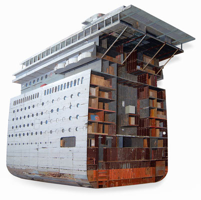 Ship section Bas-relief in salvaged wood 185 x 195 x 16 cm | Price on request