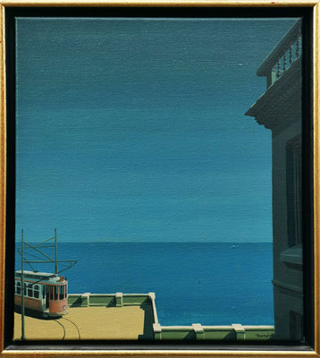 Joop Polder. Tram at the sea. Oil on canvas. 36x40 cm. Price on request.