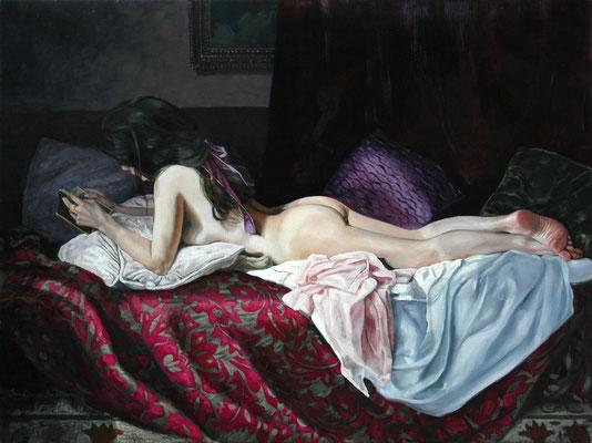 Iris Frederix | Amant, oil on canvas, 9 x 120 cm. SOLD