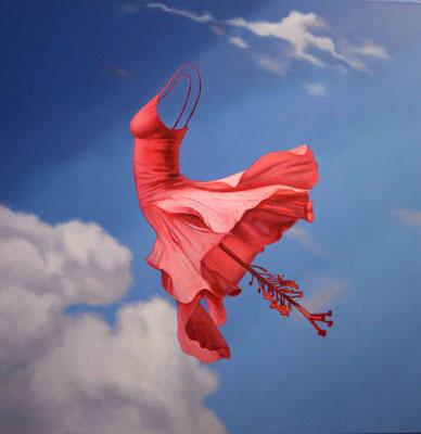 Pink hibiscus dress, 70x70 cm. M