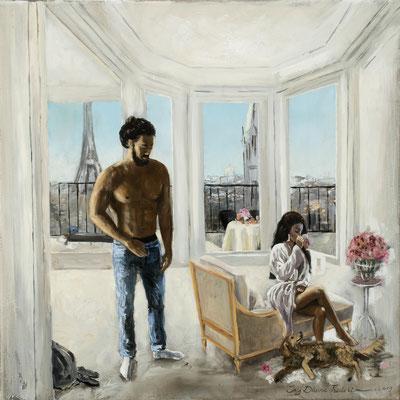 Iris Frederix | Lover dismissed, oil on canvas, 40x40 xm