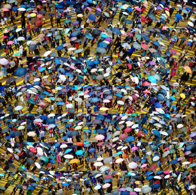 Wing Chan, Urban-Tapestry 020, Umbrellas Central, Hong Kong Image size: 100 x 100 cm (can be adjusted to smaller sizes) 2016 Edition of 8 Photomontage Archival pigment print