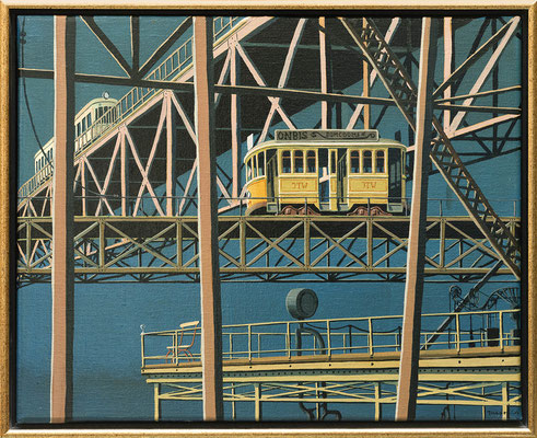 Joop Polder Two yellow trams,  50x40 cm SOLD