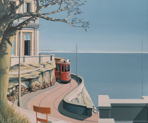 Joop Polder, The Red Tram, 60x50 cm. SOLD