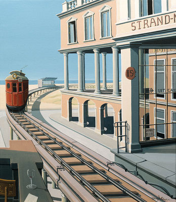 Joop Polder The Beach Tram 60x70 cm SOLD