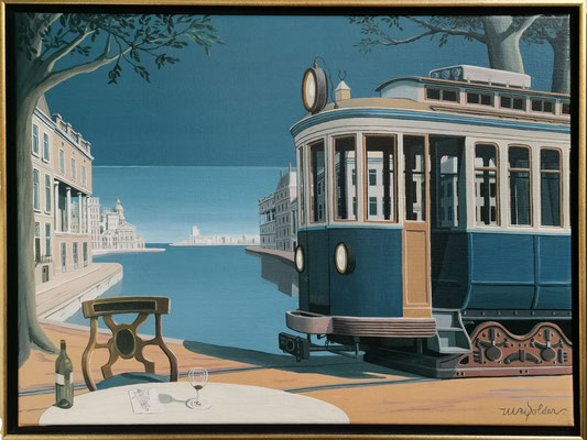Joop Polder The Blue Tram 70x50 cm. SOLD