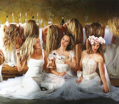Tos Kostermans, Ladies After Party, Mixed Media on canvas, 115 x 100 cm