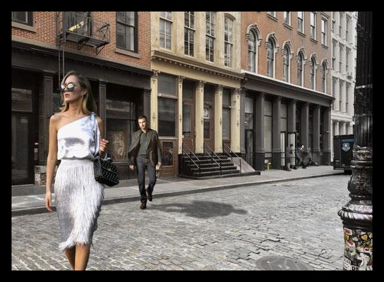 A quiet neighbourhood in Soho New York Mixed media on canvas 140x100 cm