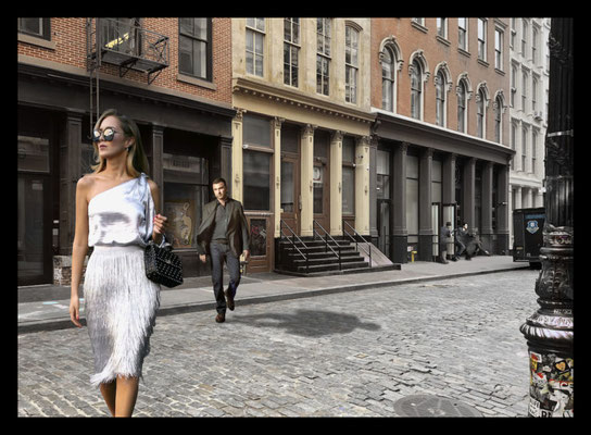 A quiet neighbourhood in Soho New York Mixed media on canvas 140x100 cm AVAILABLE