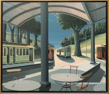 Joop Polder The Tram Station 80x70 cm SOLD