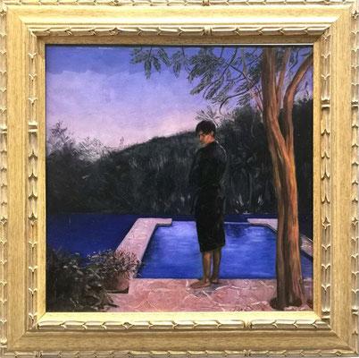 Iris Frederix | Pool boy, oil on canvas, 40 x 40 cm