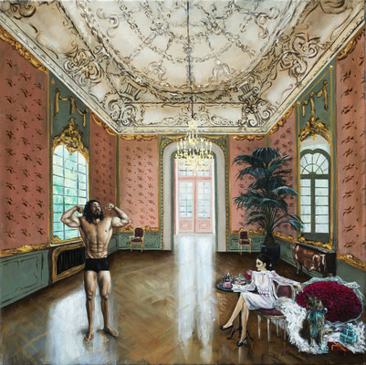 Iris Frederix | The audition, oil on canvas, 65 x 65 cm