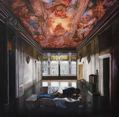 Iris Frederix   Hymne a l' amour, oil on canvas, 150 x 150 cm