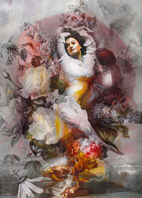 Tos Kostermans, The Belly Dancer, Mixed Media on canvas, 100 x 140 cm