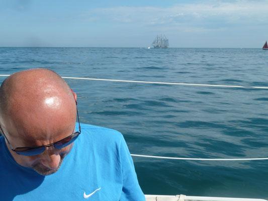 Die unter Vollzeug laufendeGroßschifffahrt beeindruckt nicht jeden!