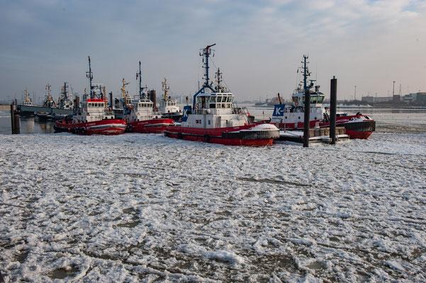 Hochseeschlepper im Eis vor Neumühlen