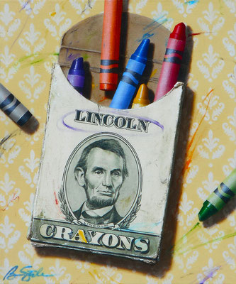 """Ben Steele, """"The Colors of Money: Lincoln,"""" 2020, oil on canvas, 24 x 20 inches, $3,600"""