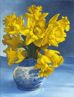 "Denise Mickilowski, ""Daffodils,"" 2016, oil on canvas, 26 x 20 inches, $8,000"