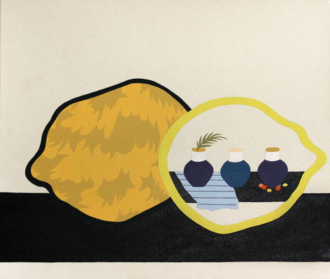 """Stephen D'Onofrio, """"Still Life with Lemons and Three Pots,"""" 2018, oil on canvas, 22 x 26 inches, $3,600"""