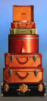 "Wendy Chidester, ""Portables,"" 2015, oil on canvas, 60 x 28 inches, SOLD"