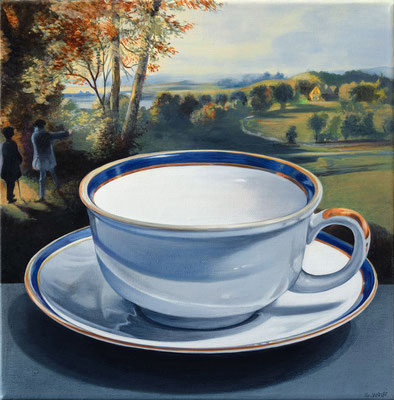 """Sherrie Wolf, """"Teacup 1,"""" 2019, oil on linen, 12 x 12 inches, SOLD"""