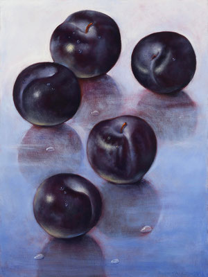 "Denise Mickilowski, ""Five Plums,"" 2017, oil on panel, 16 x 12 inches, $4,500"