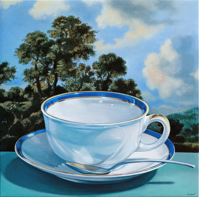 """Sherrie Wolf, """"Blue and Gold Teacup,"""" 2019, oil on linen, 16 x 16 inches, $3,400"""