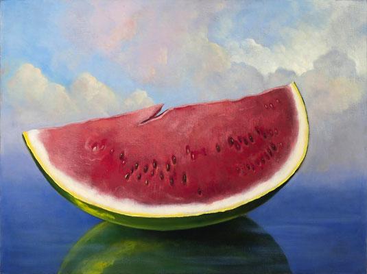 "Denise Mickilowski, ""Watermelon,"" 2017, oil on canvas, 24 x 32 inches, $7,000"