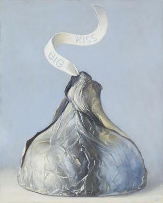 "Denise Mickilowski, ""Big Kiss,"" 2019, oil on canvas, 23 x 21 inches, $5,000"