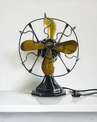 "Christopher Stott, ""Vintage Star Rite Electric Fan,"" 2016, oil on canvas, 20 x 16 inches, $2,000"