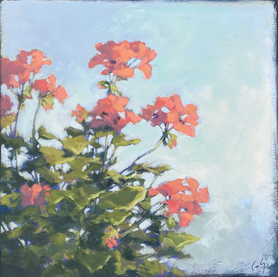 """Margaret Gerding, """"Show of Color,"""" 2020, oil on panel, 16 x 16 inches, $2,600"""