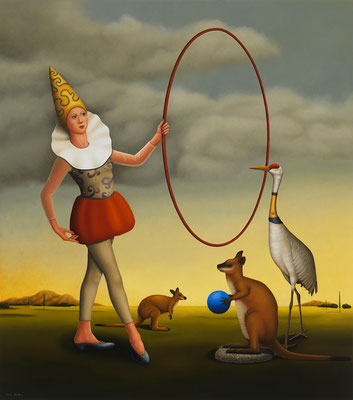 "Deborah Van Auten, ""Trainer,"" 2014, oil on linen, 34 x 30 inches, $15,000"