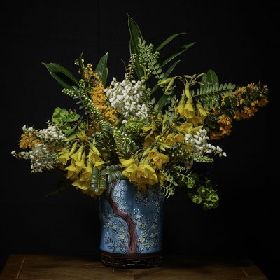 """T.M. Glass, """"Yellow, White and Orange Bouquet in an Asian Vessel,"""" 2020, archival pigment print on hand-made Italian rag paper, Available in: 30 x 30""""; 42 x 42""""; 52 x 52""""; 58 x 58"""", contact for price"""