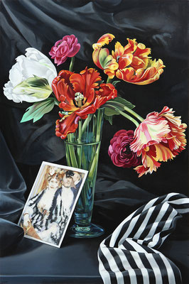 """Sherrie Wolf, """"Still Life with Renoir,"""" 2017, oil on linen, 30 x 20 inches, SOLD"""