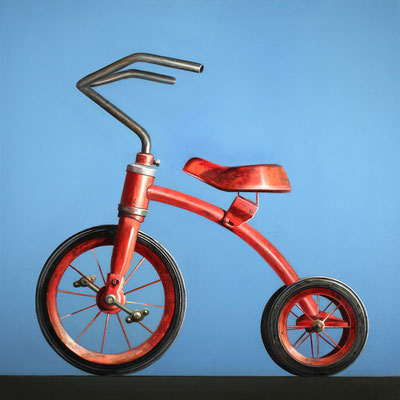 "Wendy Chidester, ""Red Trike,"" 2018, oil on canvas, 36 x 36 inches, $7,200"