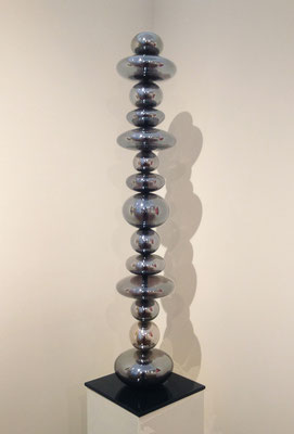 """Michelle Knox, """"Standing Reliquary: Time for Reflection #2,"""" 2013, blown glass and steel, 48 x 14 x 14 inches, SOLD"""
